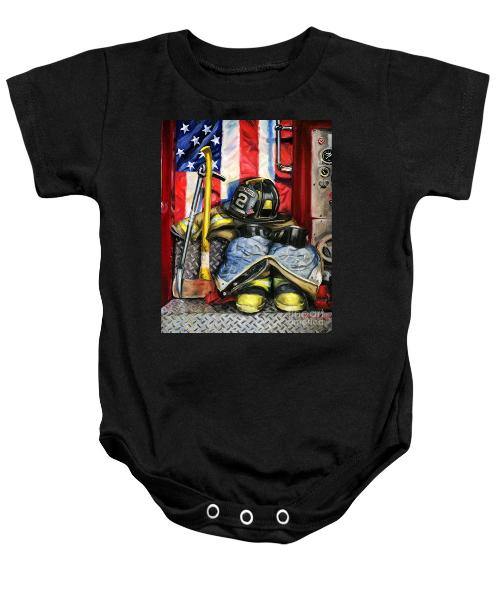 Firefighting Baby Onesie featuring the painting Symbols Of Heroism by Paul Walsh