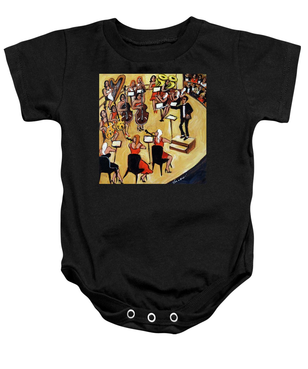 Carnegie Hall Orchestra Baby Onesie featuring the painting Symphony by Valerie Vescovi