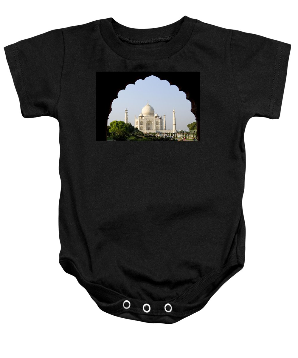 Agra Baby Onesie featuring the photograph Taj Mahal At Sunrise by Bill Bachmann - Printscapes
