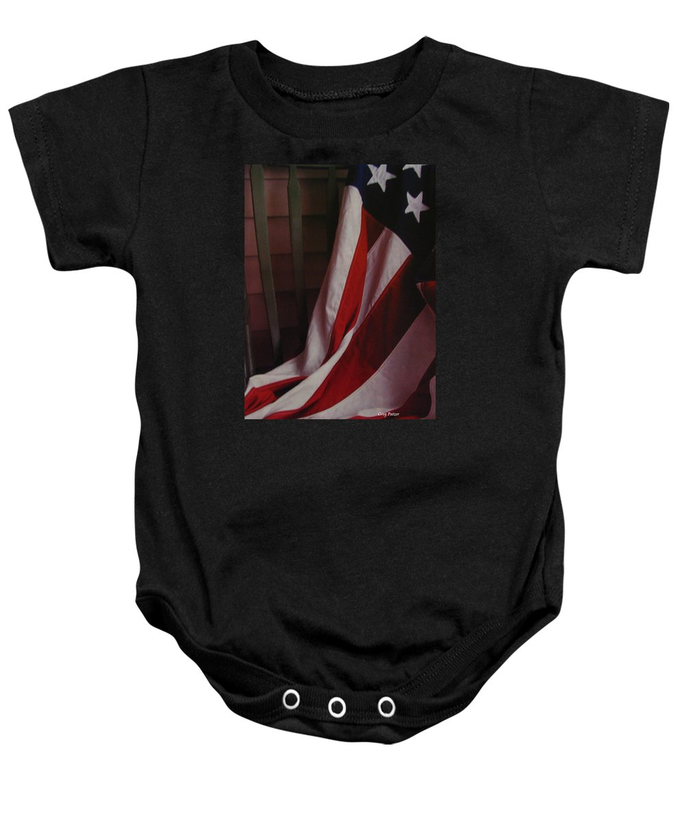 Art For The Wall...patzer Photography Baby Onesie featuring the photograph Taken A Rest by Greg Patzer
