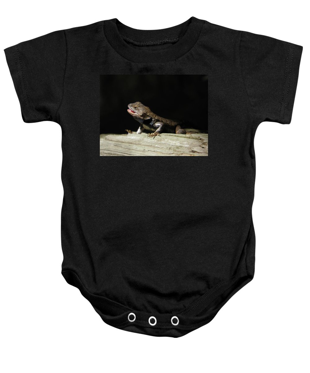 Lizards Baby Onesie featuring the photograph Talking Lizard by Angelcia Wright