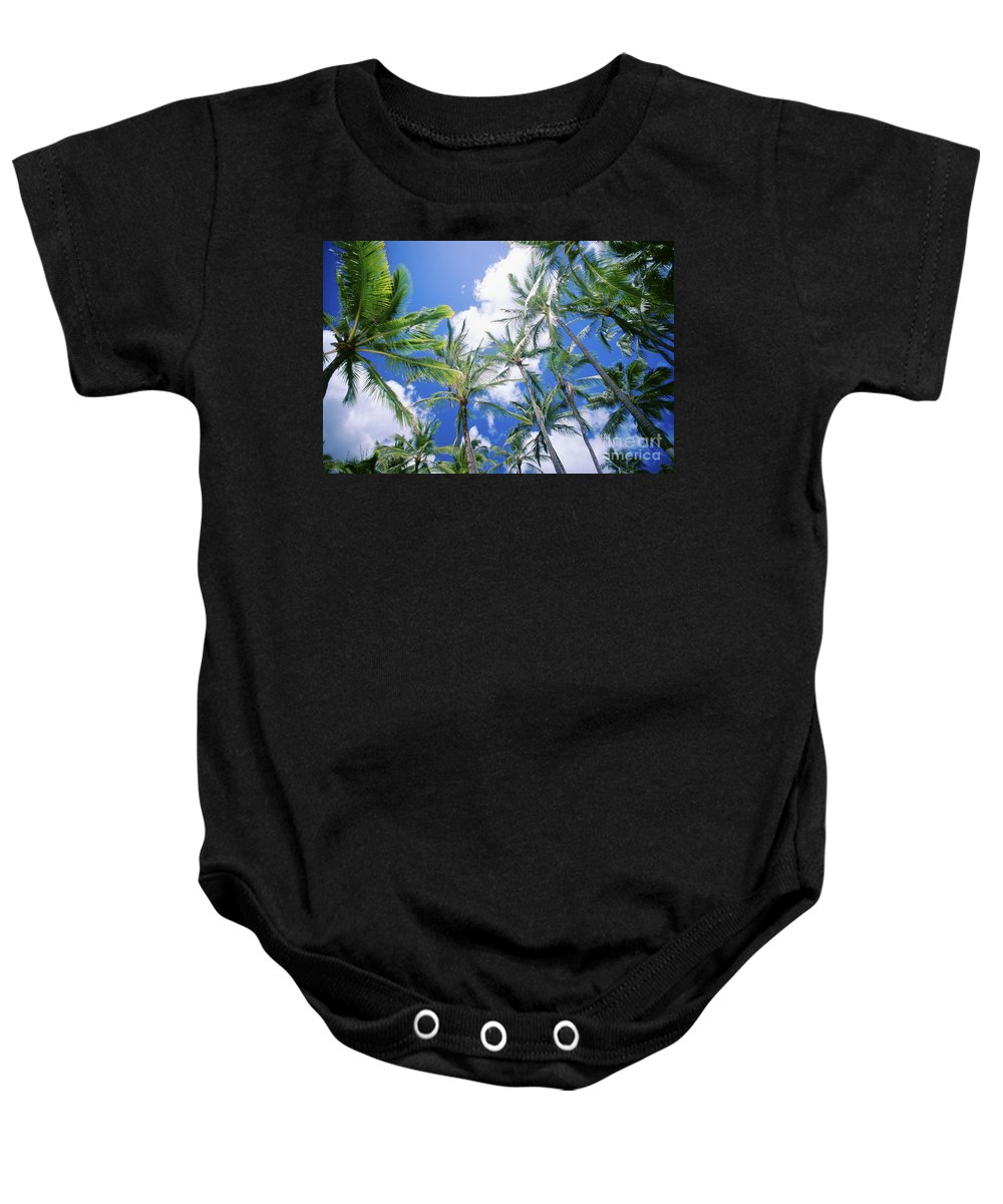 Afternoon Baby Onesie featuring the photograph Tall Palms by Vince Cavataio - Printscapes