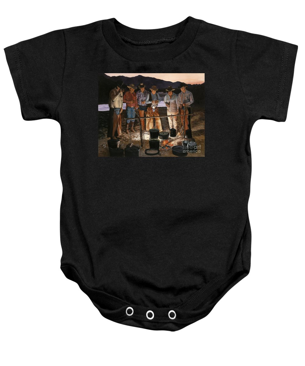 Arizona Baby Onesie featuring the painting Tall Tales by Mary Rogers