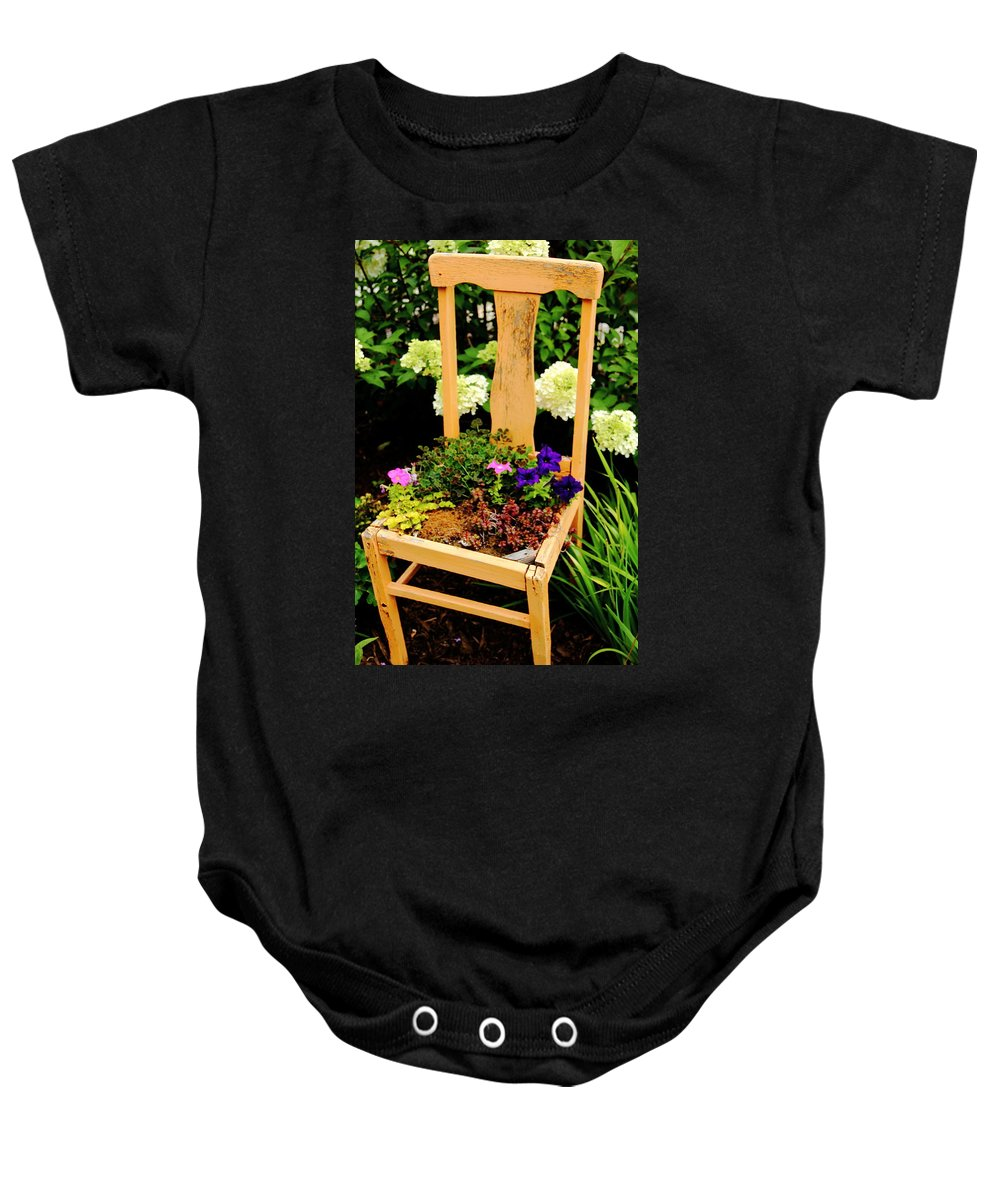 Chair Baby Onesie featuring the photograph Tan Chair Planter by Allen Nice-Webb