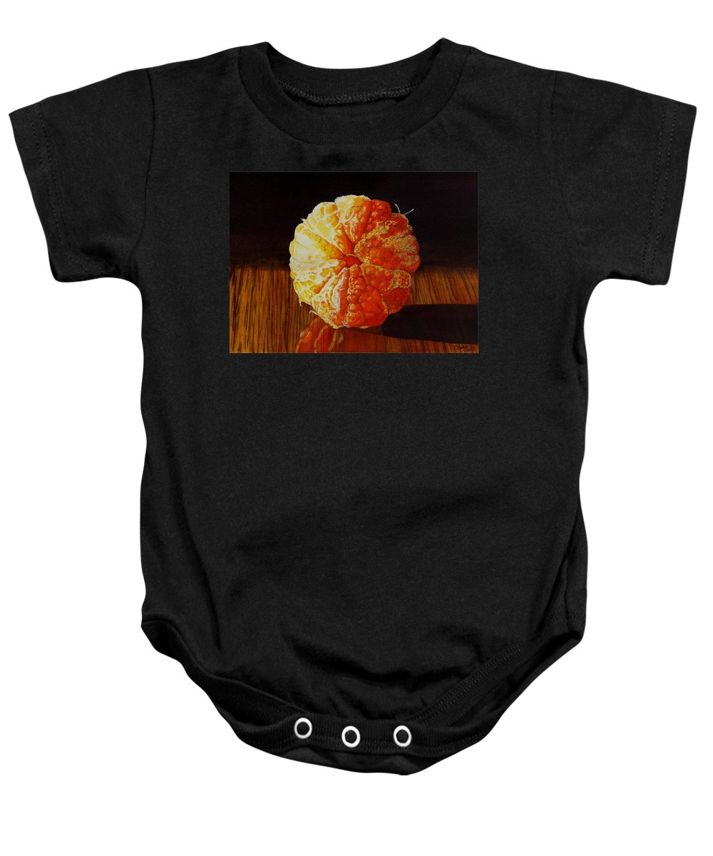 Still Life Baby Onesie featuring the painting Tangerine by Catherine G McElroy