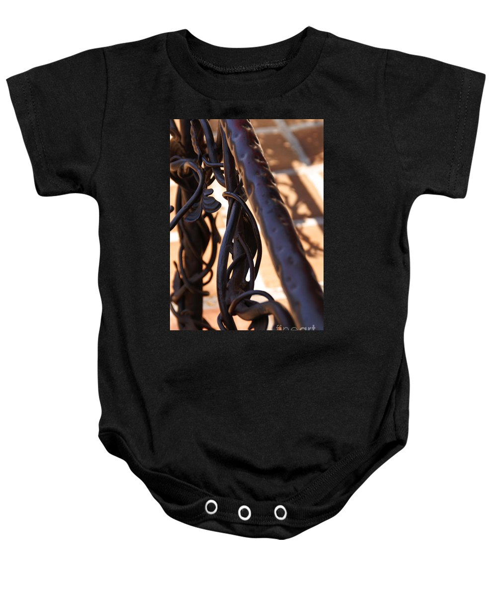 Rail Baby Onesie featuring the photograph Tangled Vines by Linda Shafer