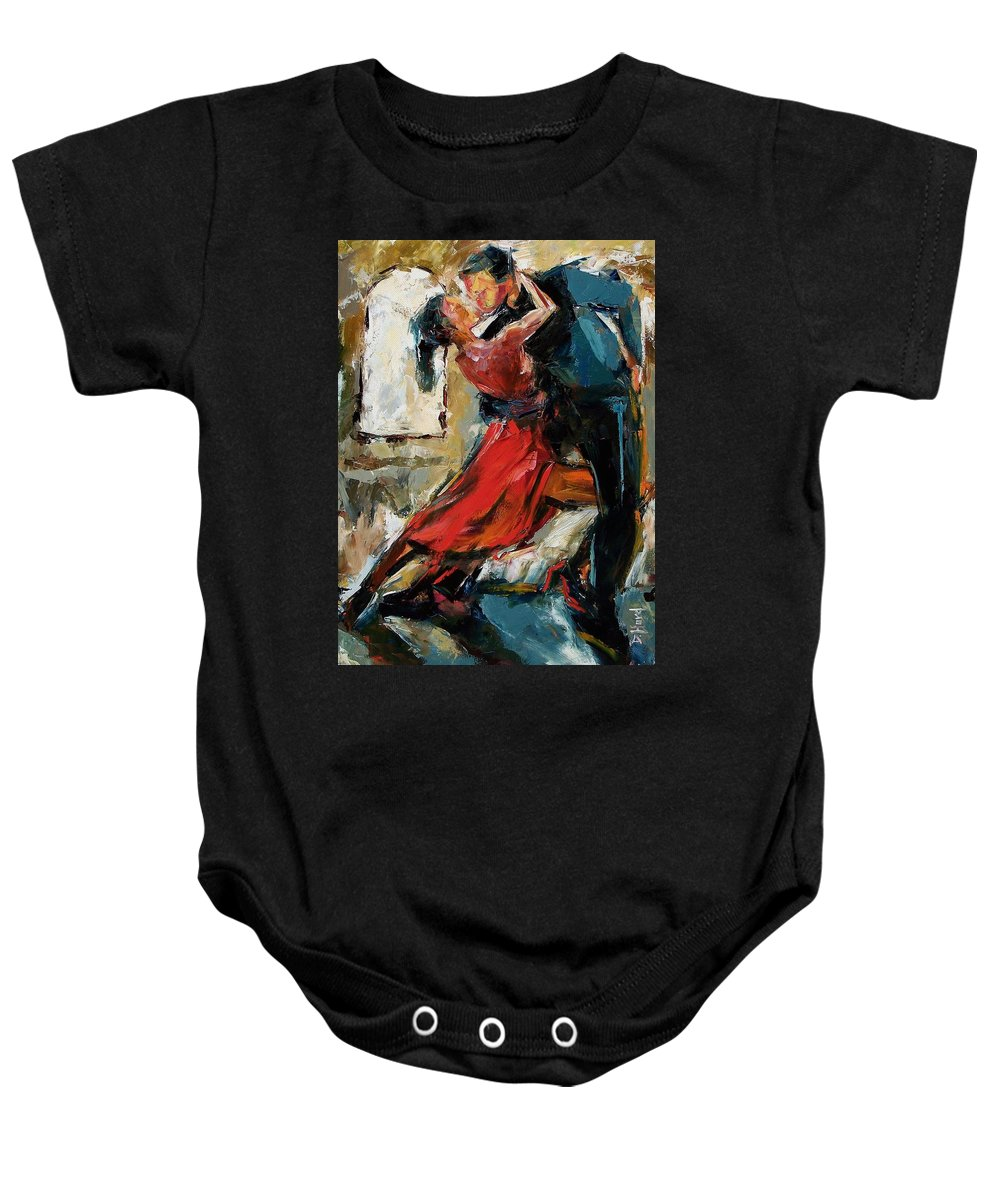 Tango Baby Onesie featuring the painting Tango By The Window by Debra Hurd