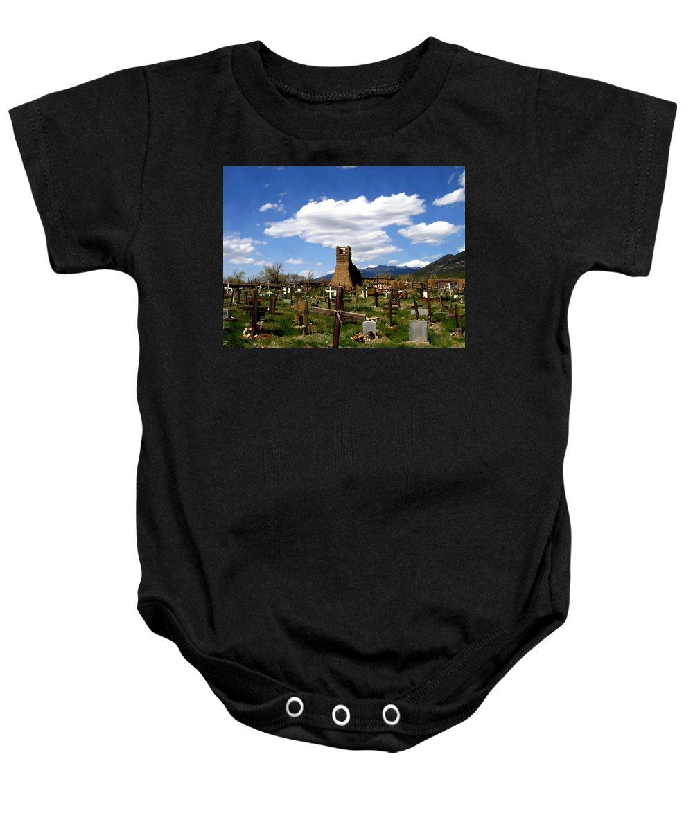 Taos Baby Onesie featuring the photograph Taos Pueblo Cemetery by Kurt Van Wagner