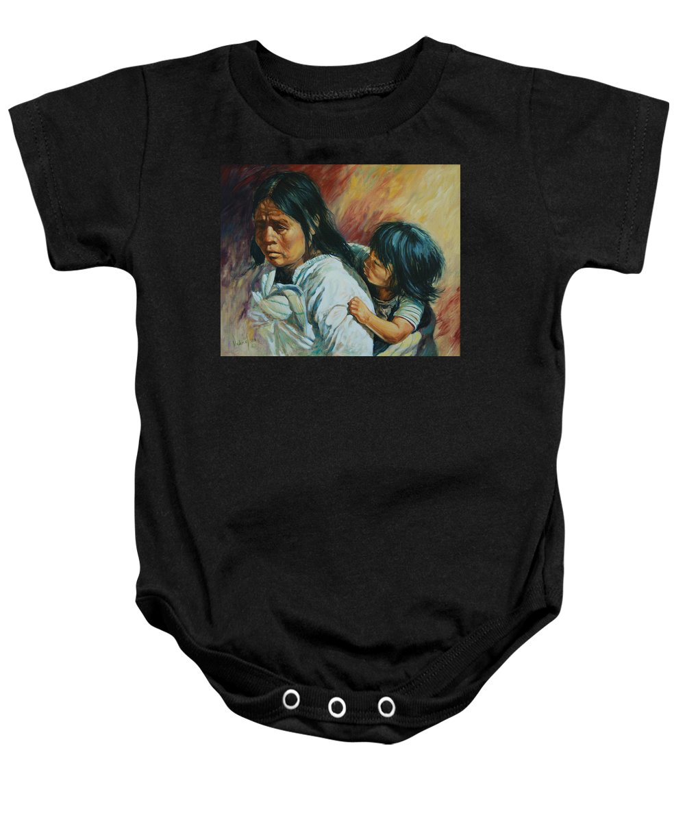 Woman Baby Onesie featuring the painting Tarascan Woman by Rick Nederlof