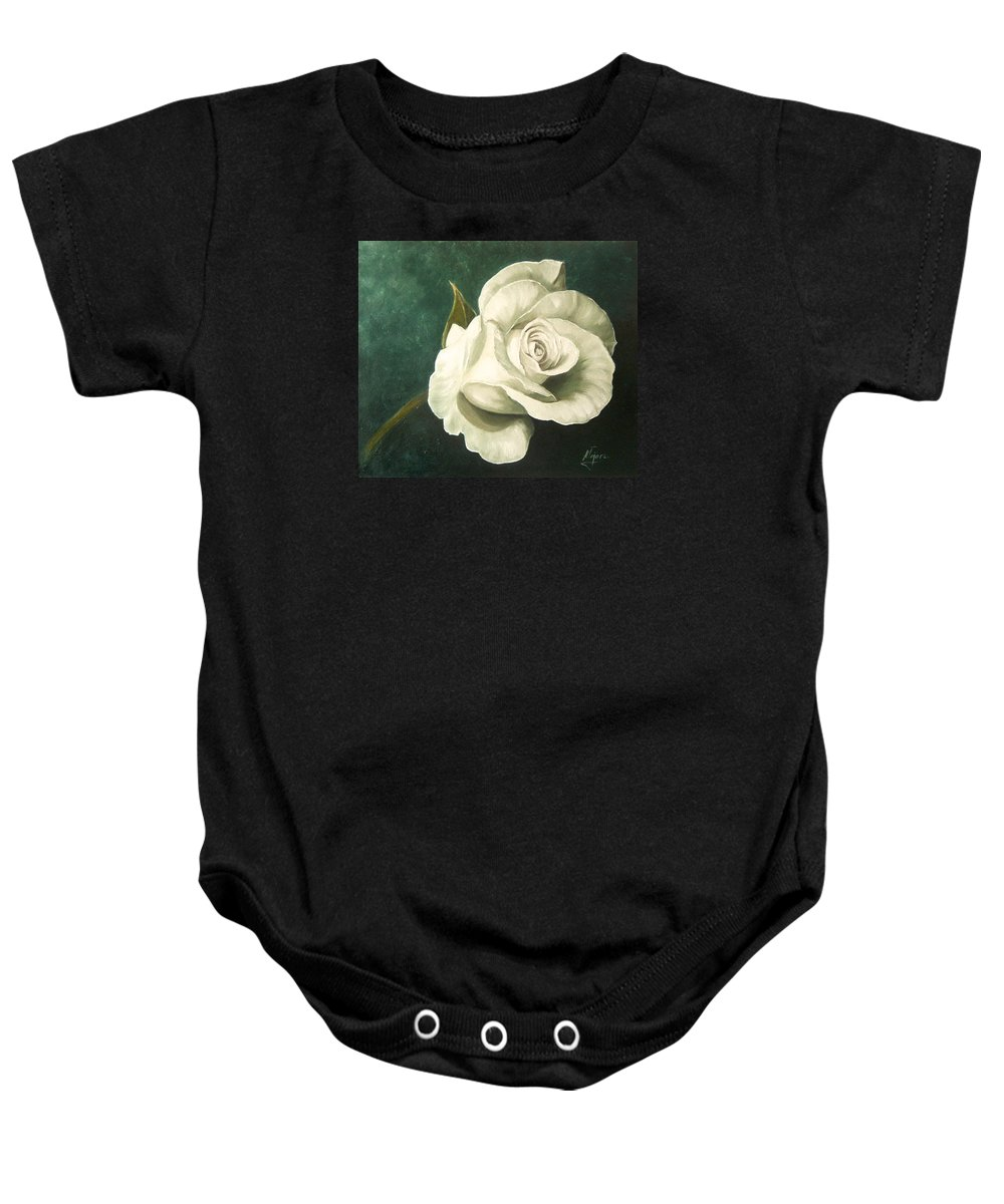 Rose Flower Still Life White Baby Onesie featuring the painting Tea Rose by Natalia Tejera