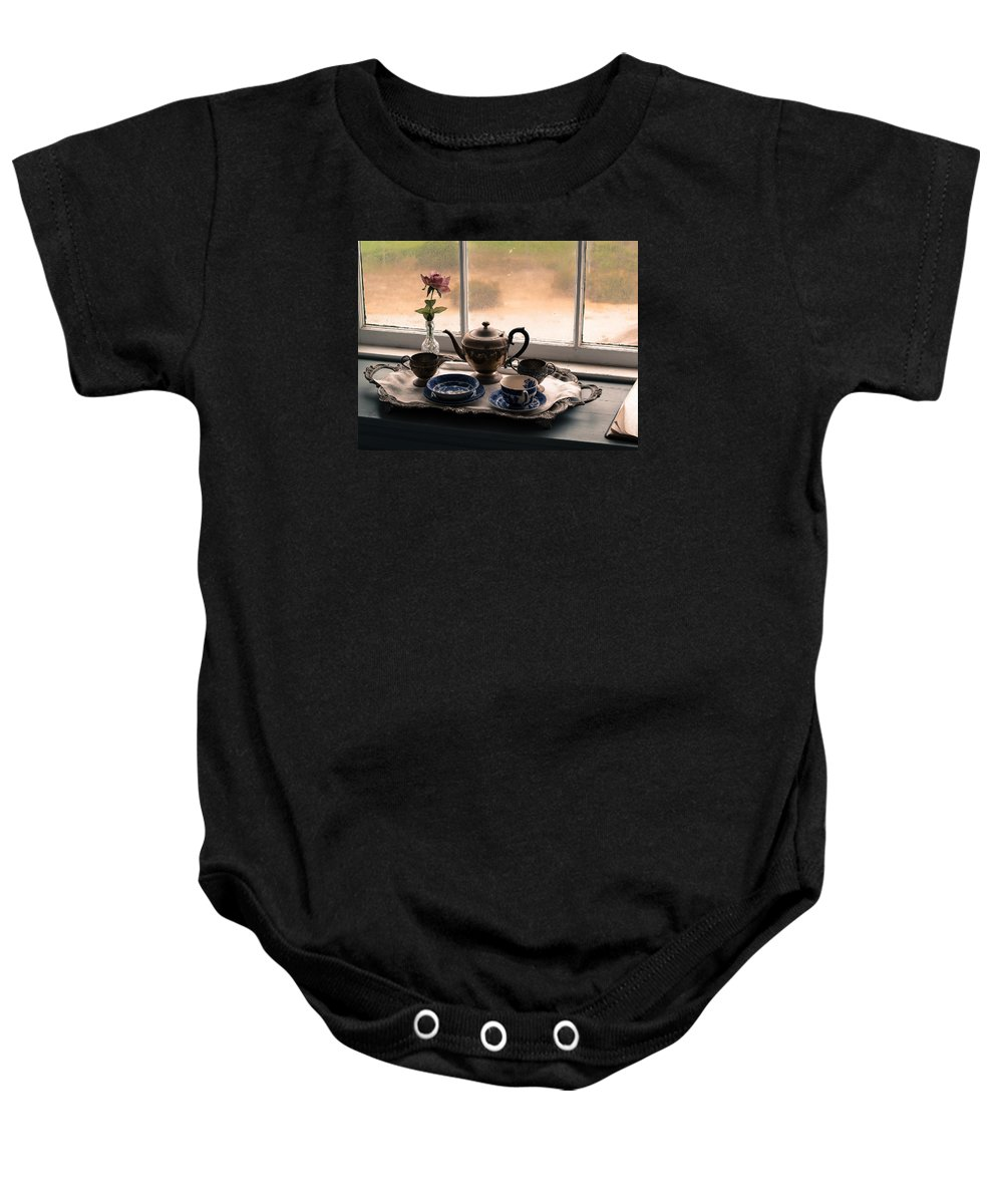 Still Life Baby Onesie featuring the photograph Tea Time by Cyril Matthews