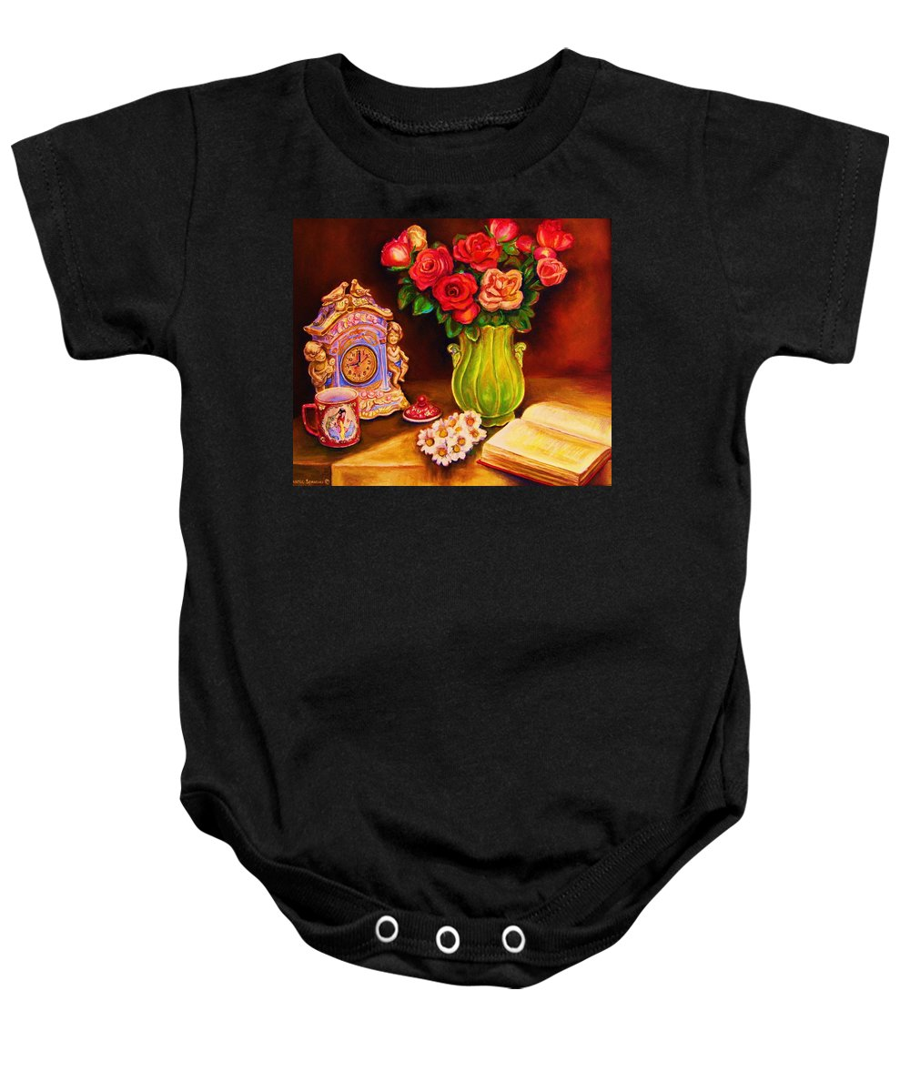 Impressionism Baby Onesie featuring the painting Teacup And Roses by Carole Spandau