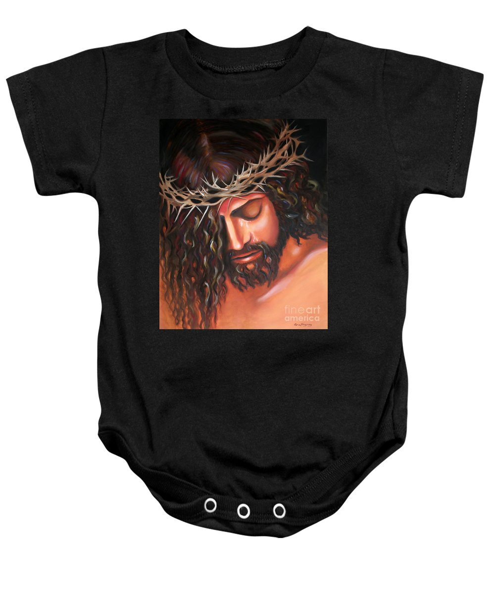 Crown Of Thorns Baby Onesie featuring the painting Tears From The Crown Of Thorns by Lora Duguay