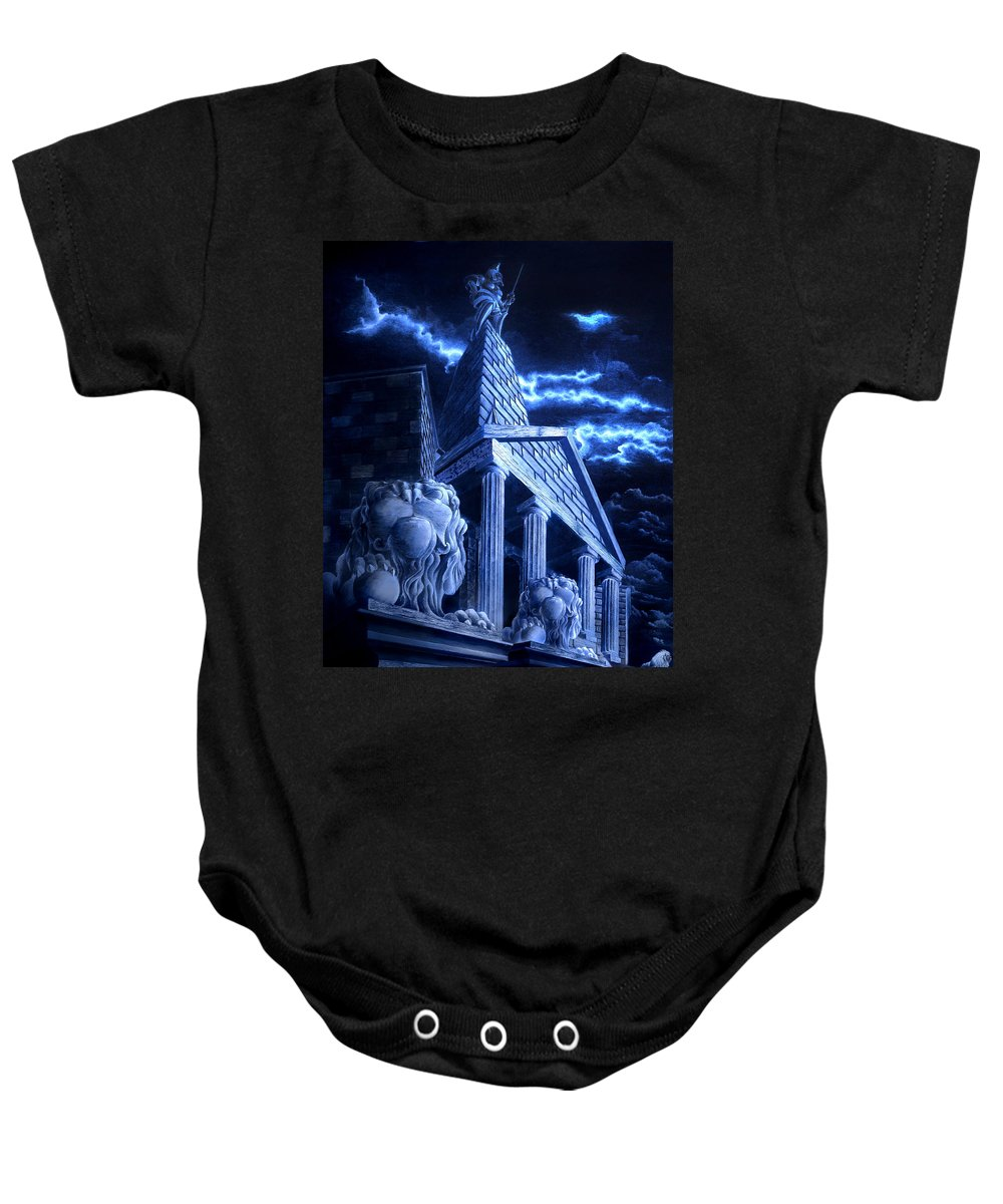 Hercules Baby Onesie featuring the drawing Temple Of Hercules In Kassel by Curtiss Shaffer
