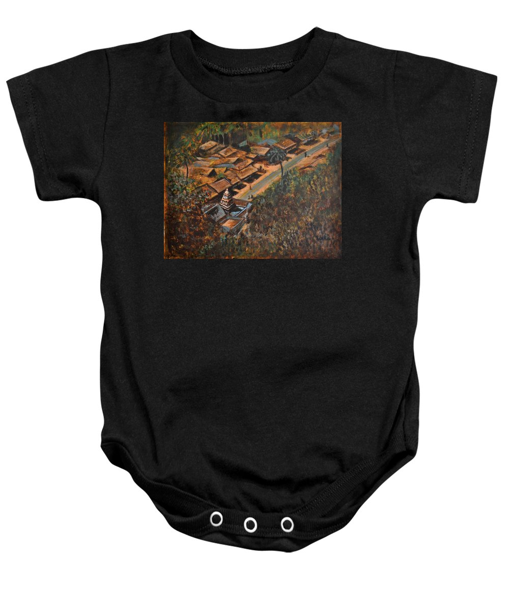 Temple Baby Onesie featuring the painting Temple Town by Usha Shantharam