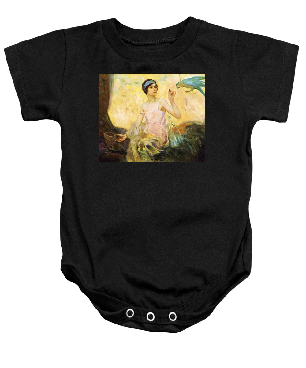 Tempting Baby Onesie featuring the painting Tempting Sweets 1924 by Reid Robert Lewis