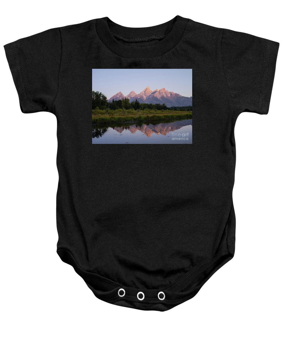 Wyoming Baby Onesie featuring the photograph Teton Sunrise by Tracy Knauer