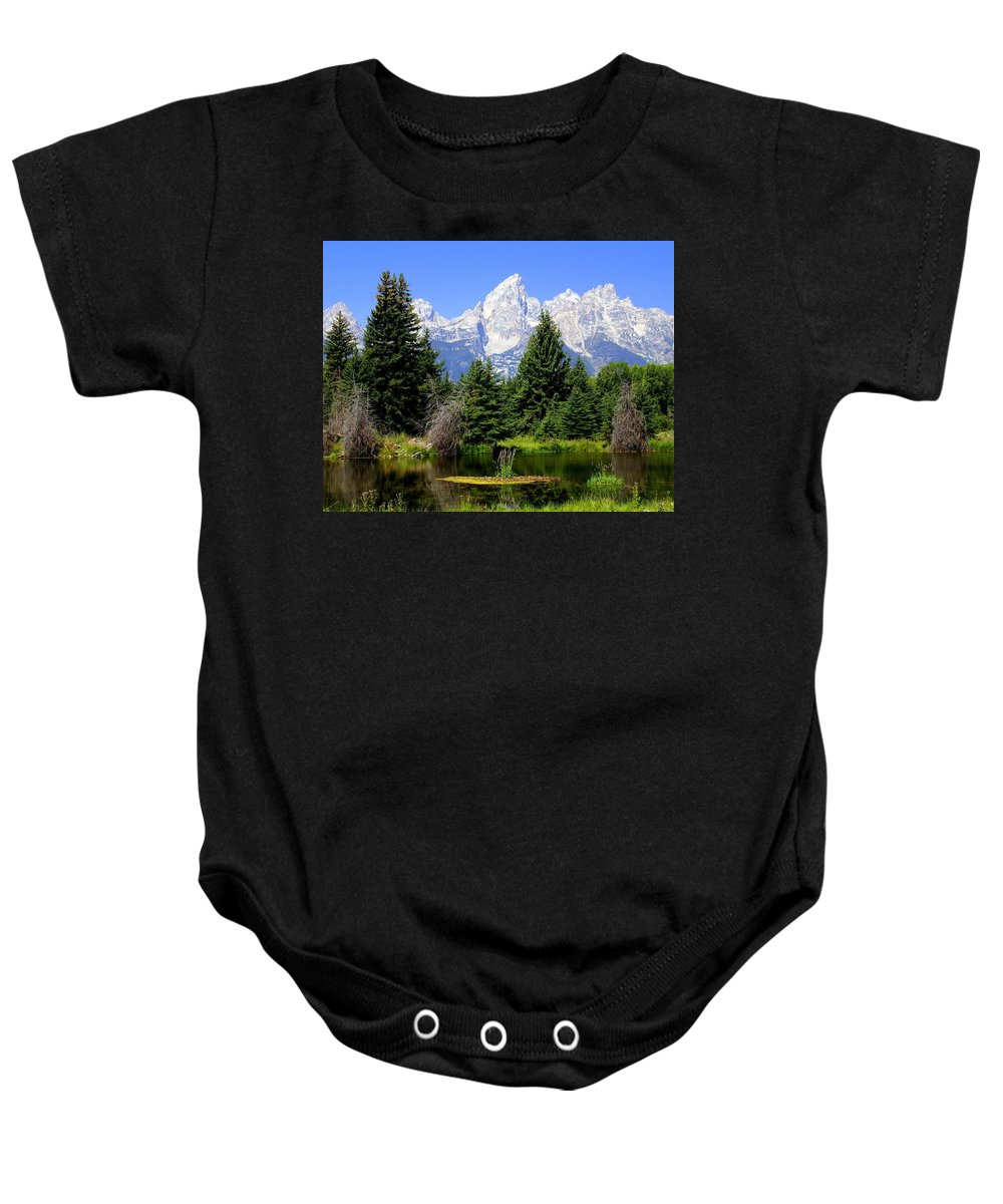 Grand Teton National Park Baby Onesie featuring the photograph Tetons by Marty Koch