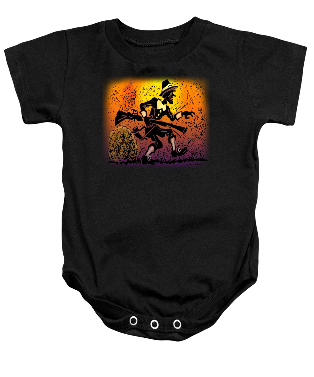Thanksgiving Baby Onesie featuring the digital art Thanksgiving Pilgrim by Kevin Middleton