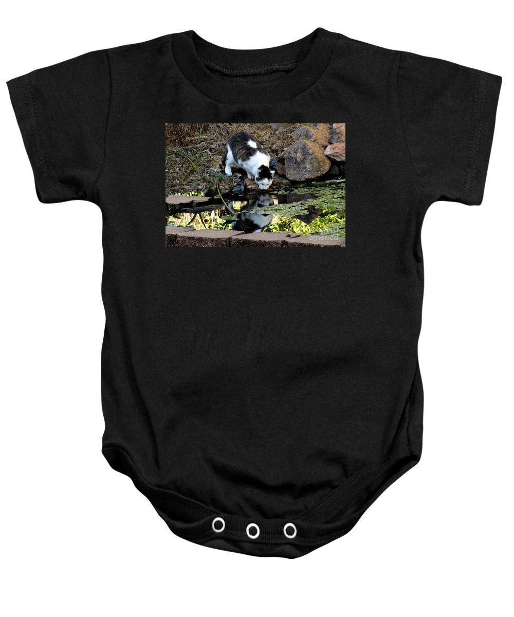 Cat Baby Onesie featuring the photograph That My Reflection by Donna Brown