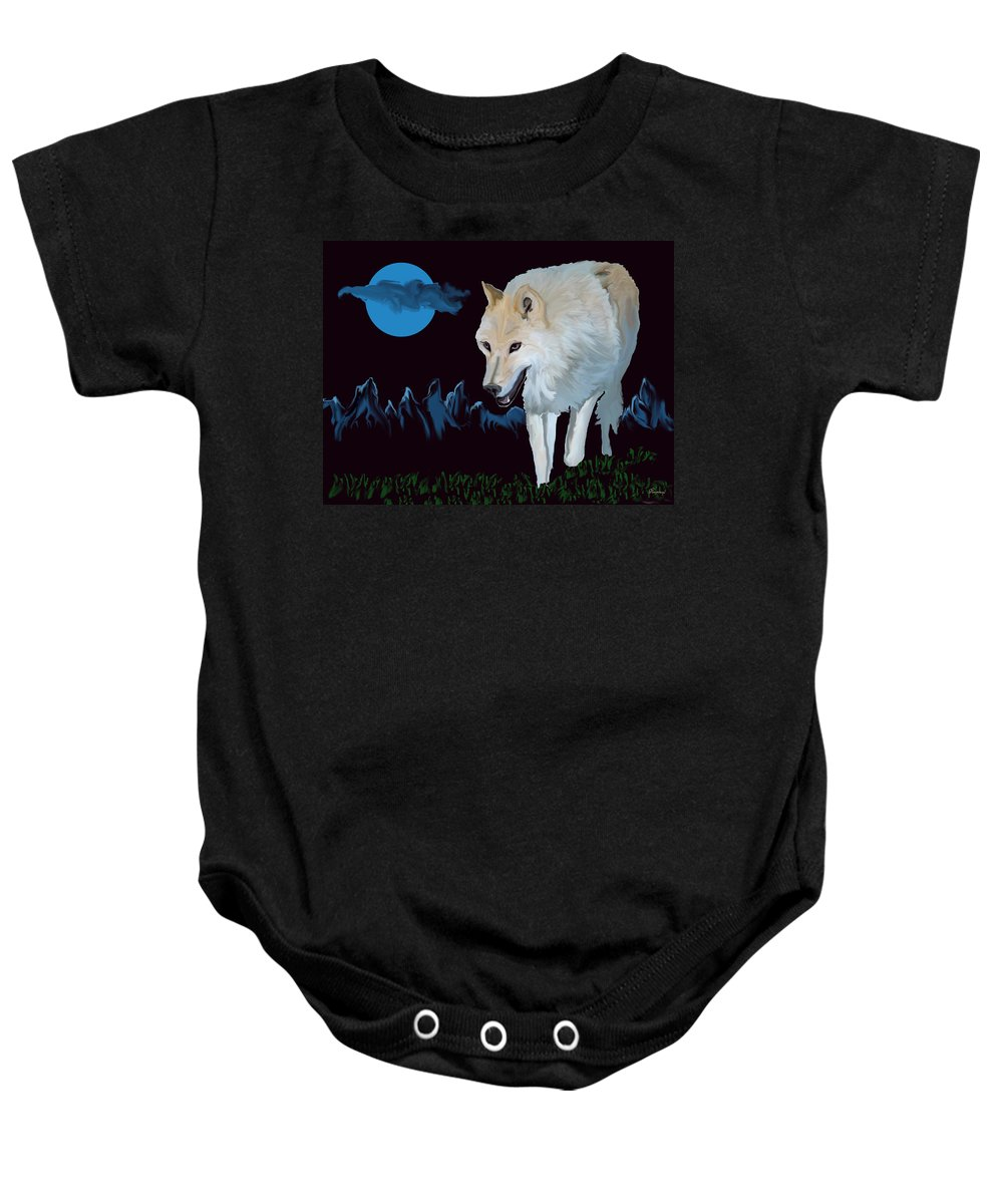 Wolf Moon Night Mountain Drawing Dark Blue Wild Animal Nature Baby Onesie featuring the digital art That Wolf by Andrea Lawrence