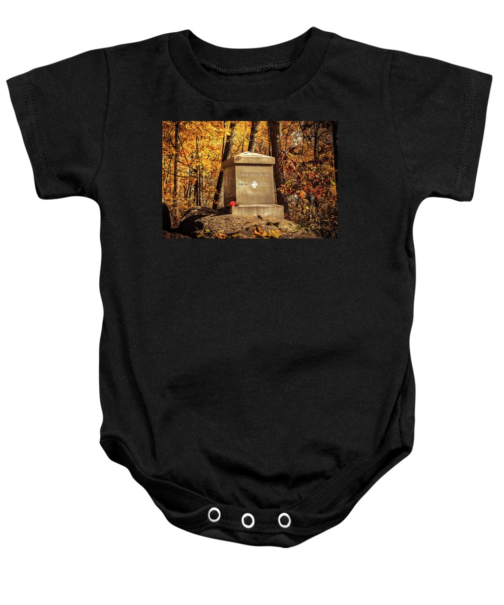 Civil War Baby Onesie featuring the photograph The 20th Maine by Jen Goellnitz