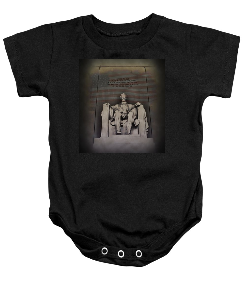 Abraham Lincoln Baby Onesie featuring the photograph The Abraham Lincoln Memorial by Bill Cannon