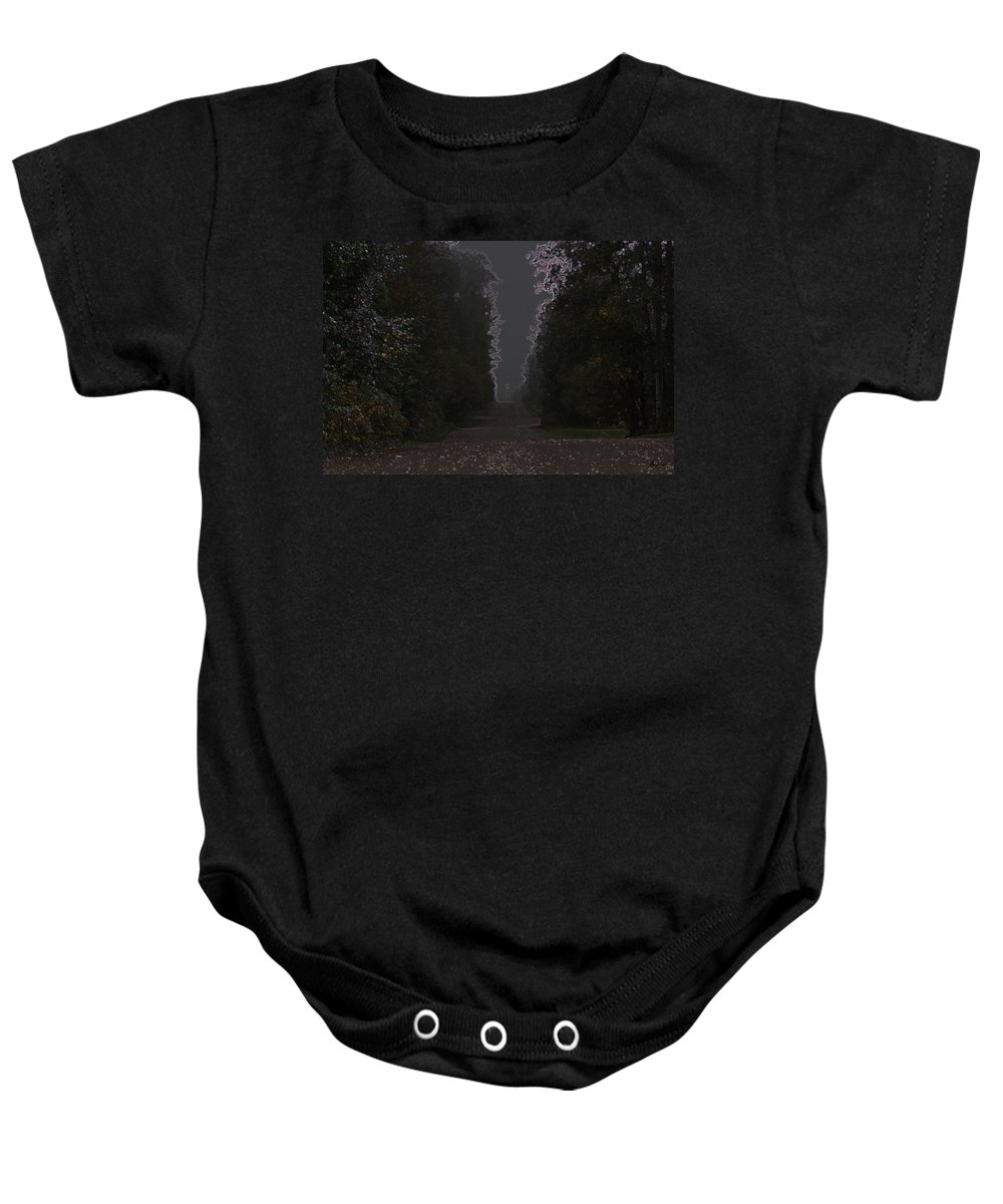 Road Ghost Boy Trees Laneway Treed Nature Colorful Leaves Plants Stones Baby Onesie featuring the photograph The Adventurer by Andrea Lawrence