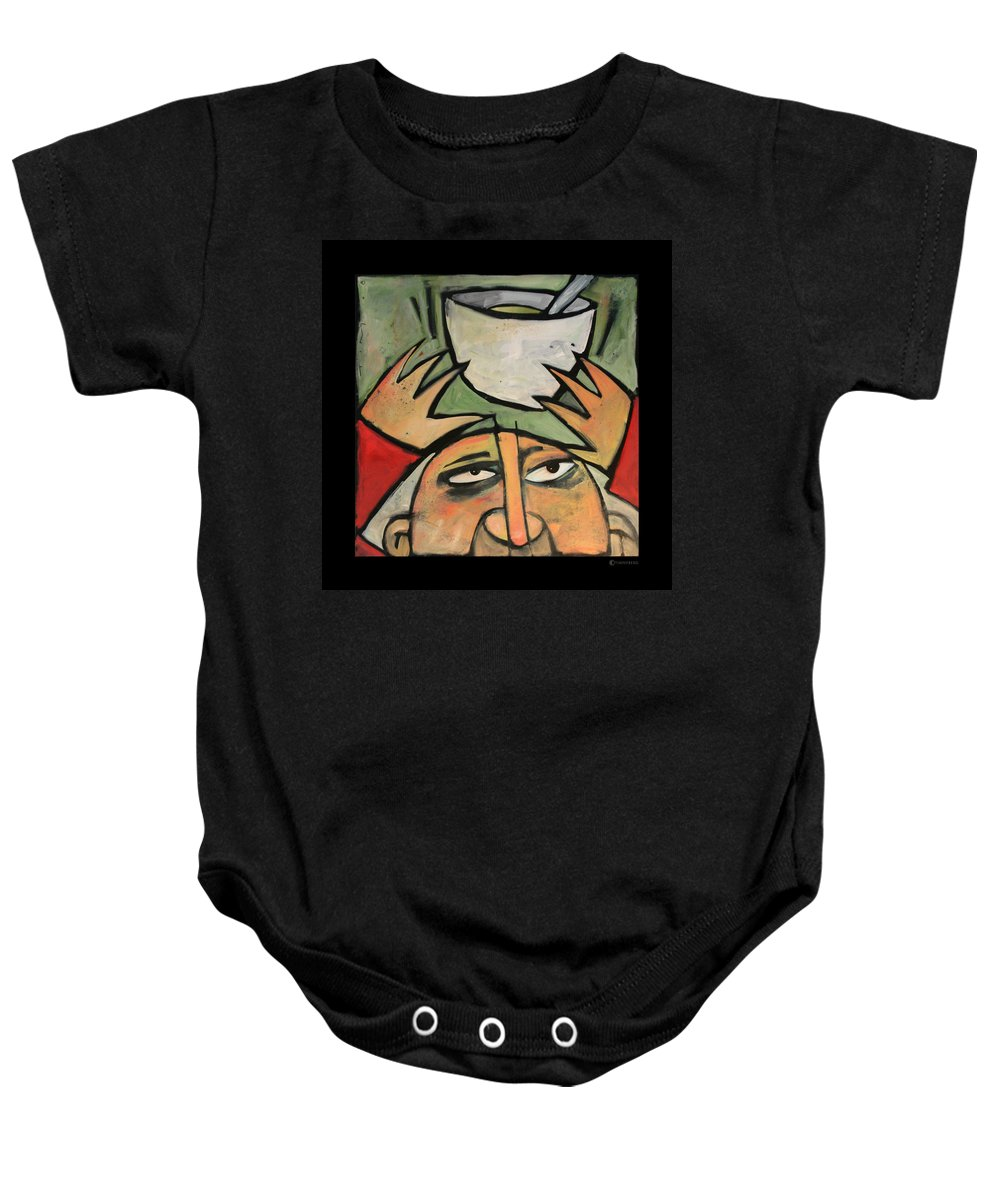 Humor Baby Onesie featuring the painting The Amazing Brad Soup Juggler by Tim Nyberg