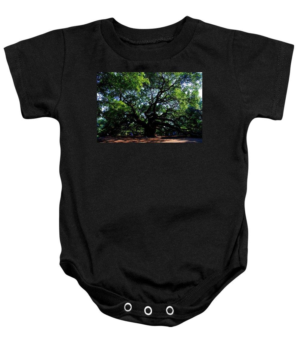 Angel Oak Baby Onesie featuring the photograph The Angel Oak in Summer by Susanne Van Hulst