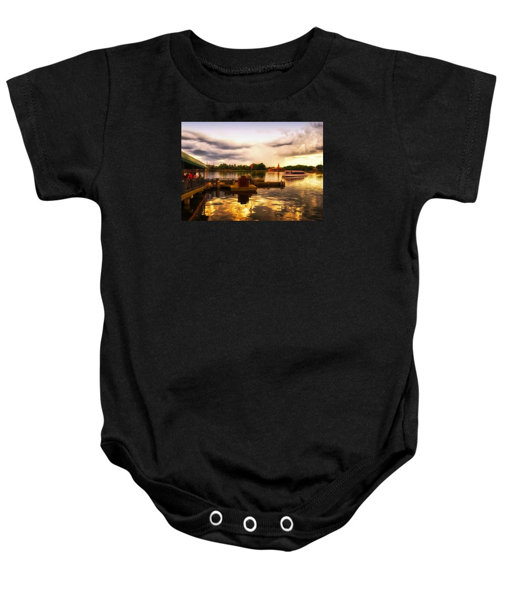 Epcot Baby Onesie featuring the photograph The Approaching Storm Walt Disney World by Thomas Woolworth