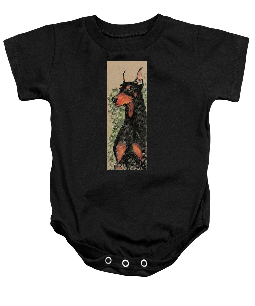 Doberman Pinscher Baby Onesie featuring the drawing The Aristocrat by Cori Solomon