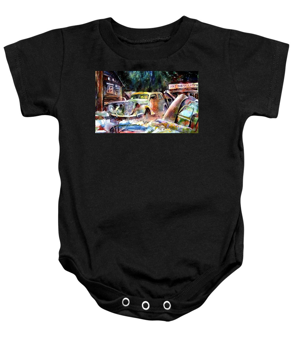 Cars Baby Onesie featuring the painting The Art Installation by Ron Morrison