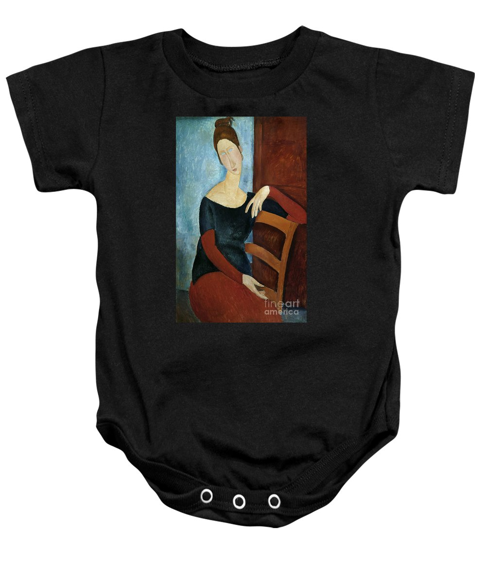 The Baby Onesie featuring the painting The Artist's Wife by Amedeo Modigliani