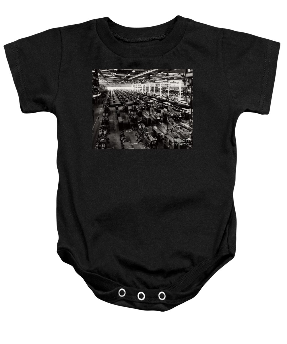 Mass Production Baby Onesie featuring the photograph The Assembly Plant Of The Bell Aircraft Corporation In 1944 by Doc Braham