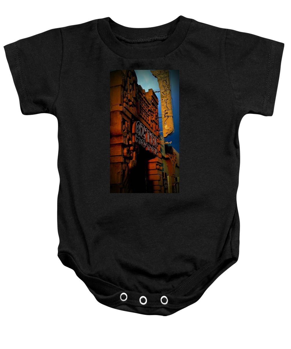 Hotel Baby Onesie featuring the photograph The Aztec by Stephanie Haertling