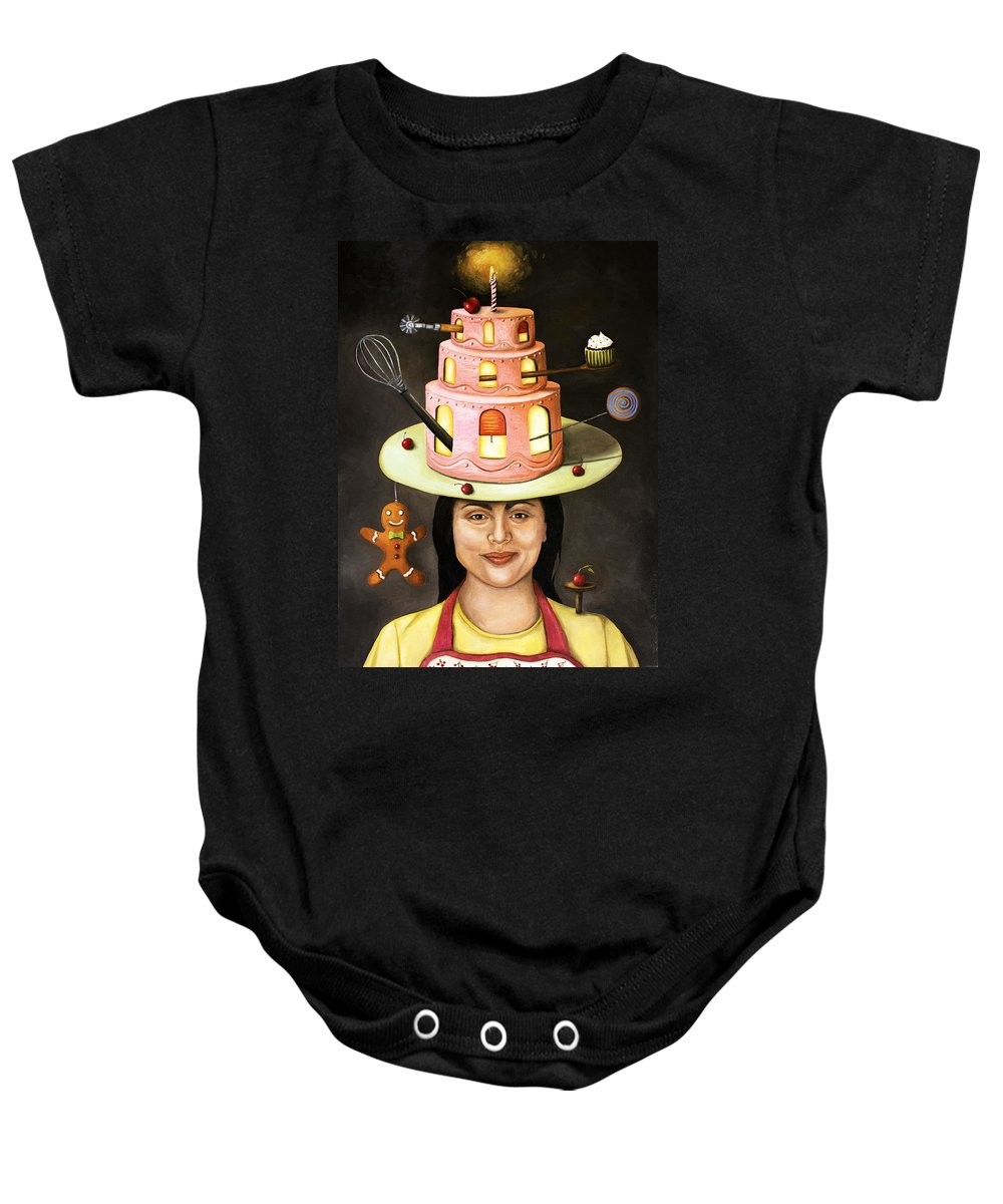 Baker Baby Onesie featuring the painting The Baker by Leah Saulnier The Painting Maniac