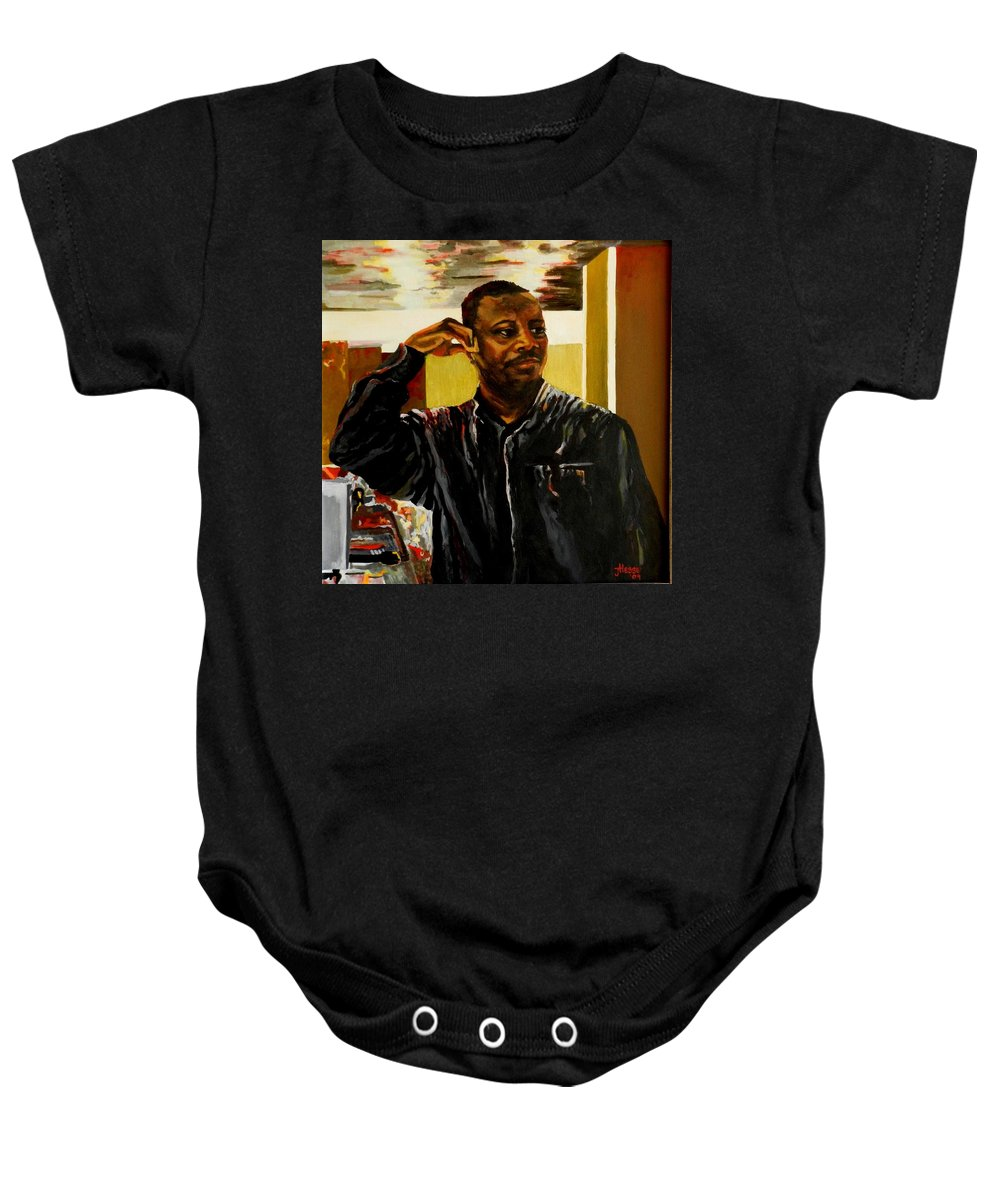 Portrait Baby Onesie featuring the painting The Bartender by Jolante Hesse