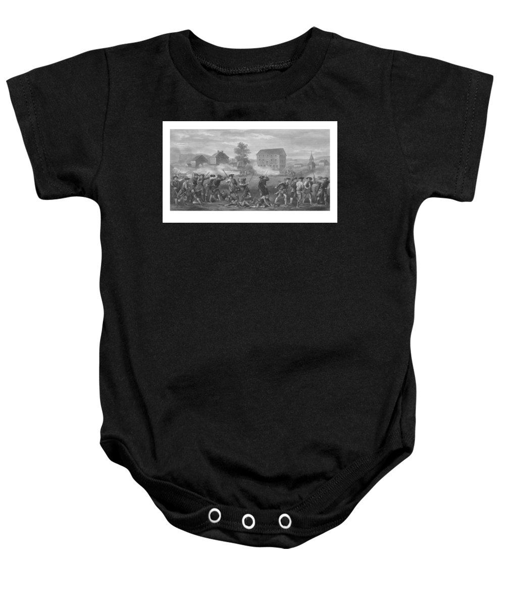 Minutemen Baby Onesie featuring the drawing The Battle Of Lexington by War Is Hell Store
