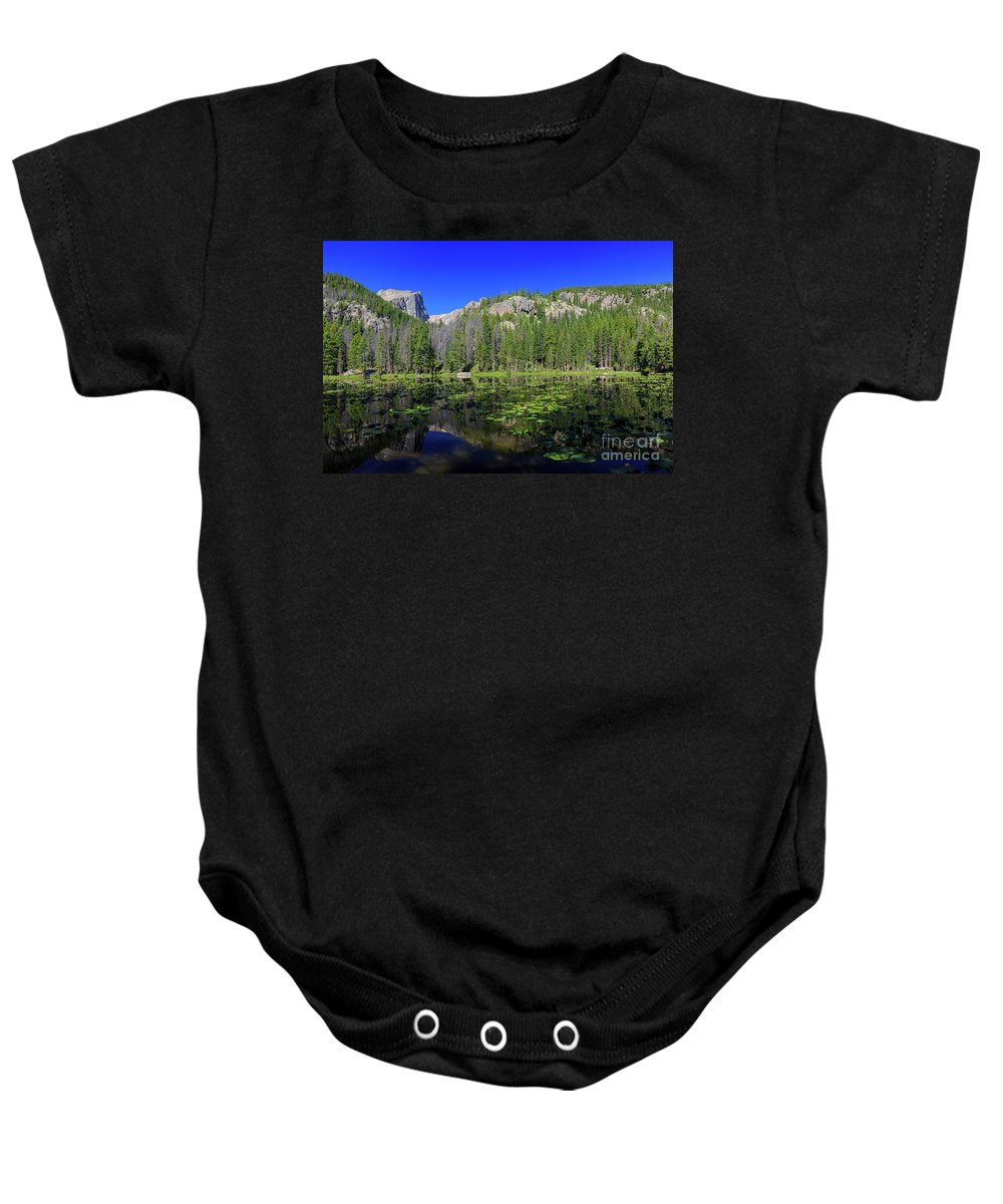 Colorado Baby Onesie featuring the photograph The Beautiful Nymph Lake With Reflection And Clear Water by Chon Kit Leong