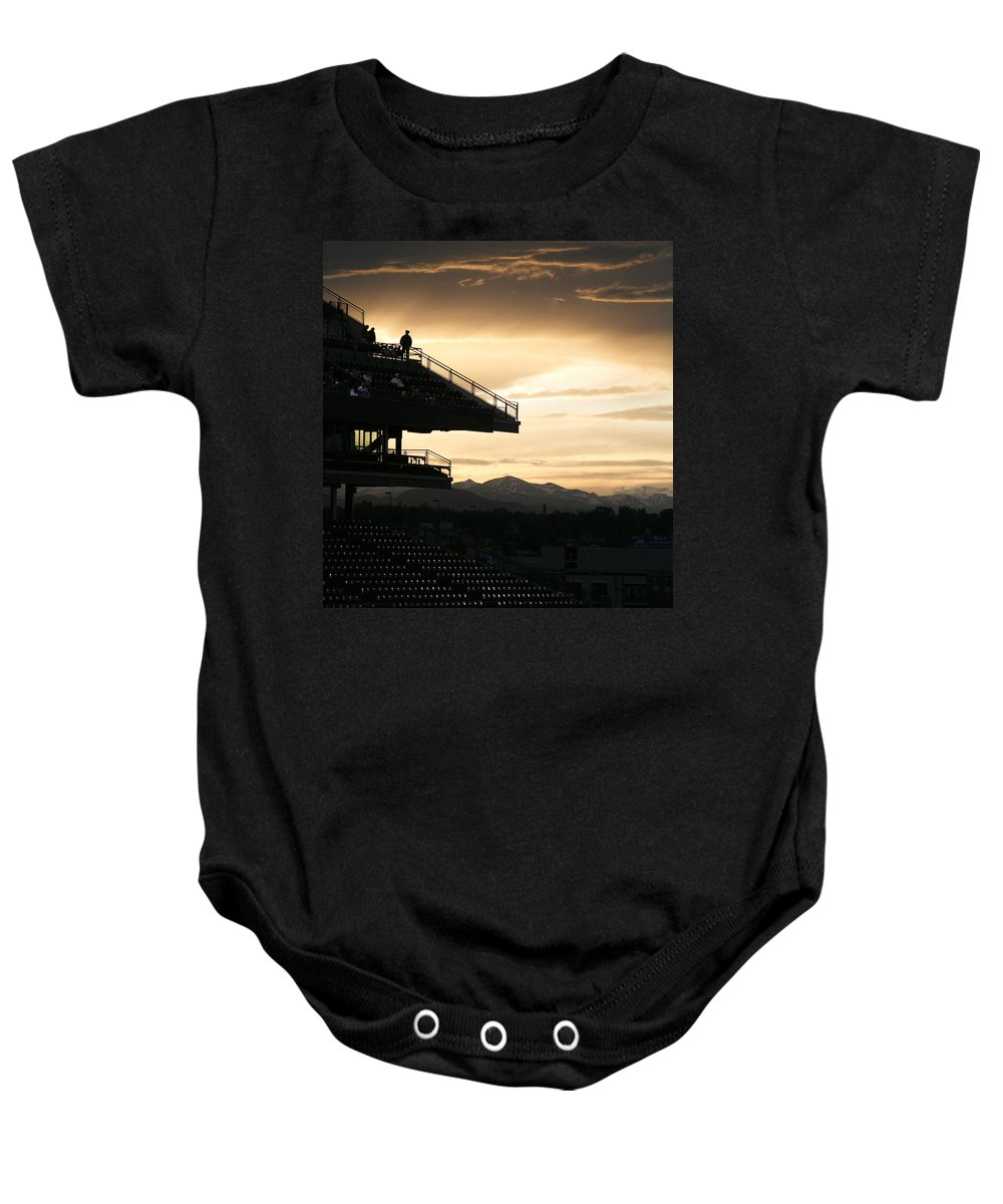 Sunset Baby Onesie featuring the photograph The Beauty Of Baseball In Colorado by Marilyn Hunt