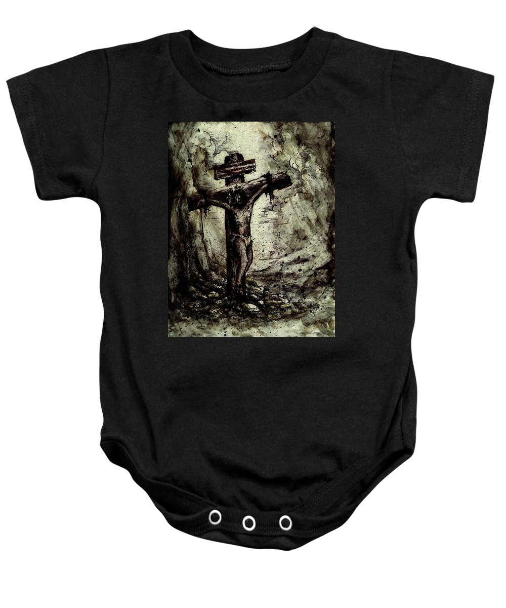 Figure Baby Onesie featuring the drawing The Beloved Son by Rachel Christine Nowicki