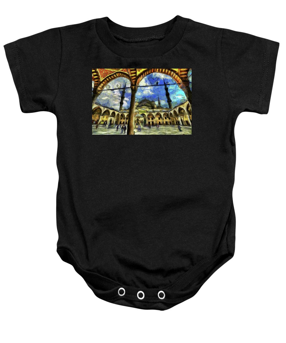 Blue Mosque Baby Onesie featuring the photograph The Blue Mosque Istanbul Art by David Pyatt