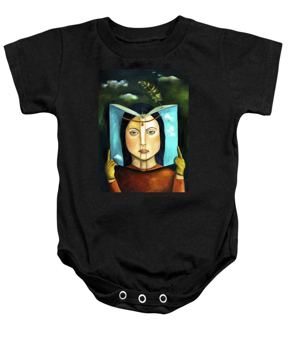 Book Baby Onesie featuring the painting The Book Of Secrets by Leah Saulnier The Painting Maniac