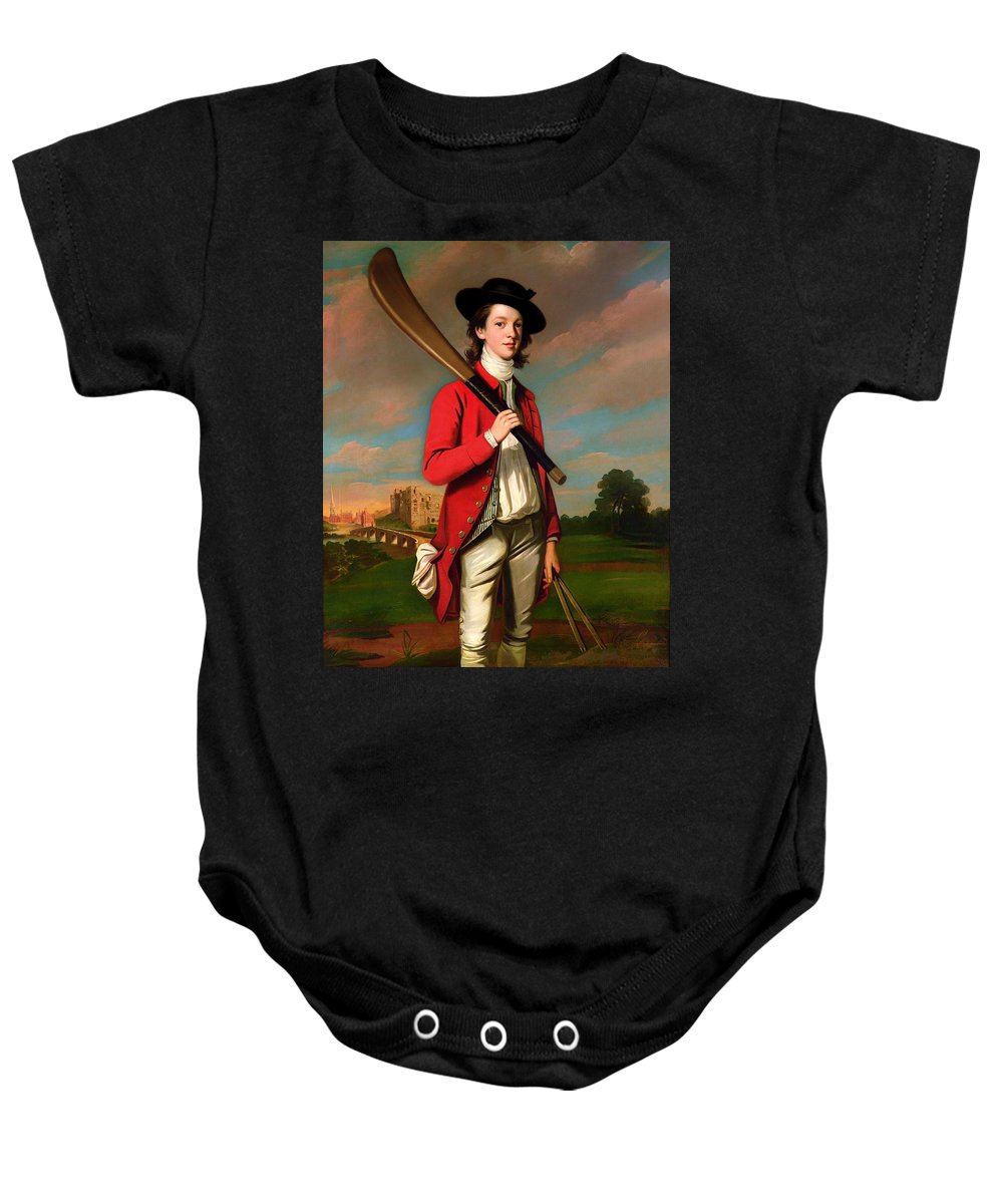 Painting Baby Onesie featuring the painting The Boy With A Bat - Walter Hawkesworth Fawkes by Mountain Dreams
