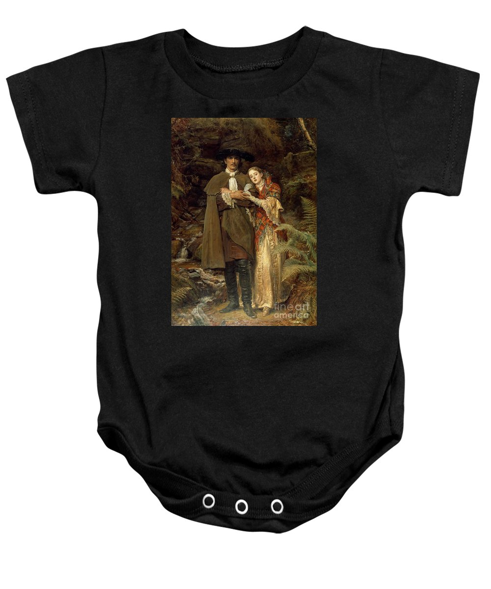 The Baby Onesie featuring the painting The Bride Of Lammermoor by Sir John Everett Millais