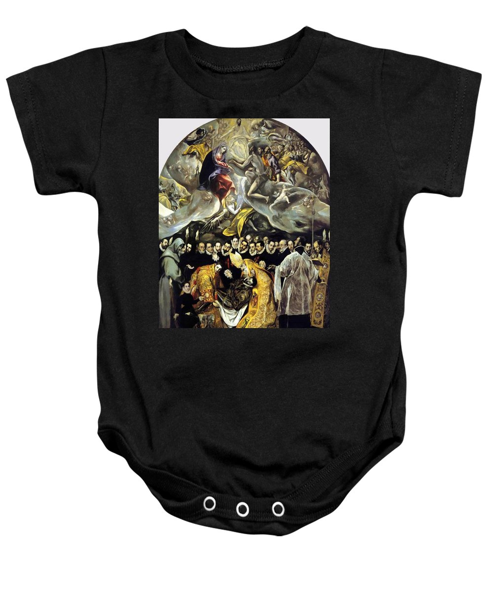 The Baby Onesie featuring the painting The Burial Of The Count Of Orgaz 1587 by El Greco