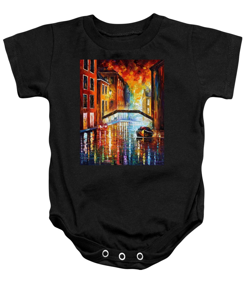Afremov Baby Onesie featuring the painting The Canals Of Venice by Leonid Afremov