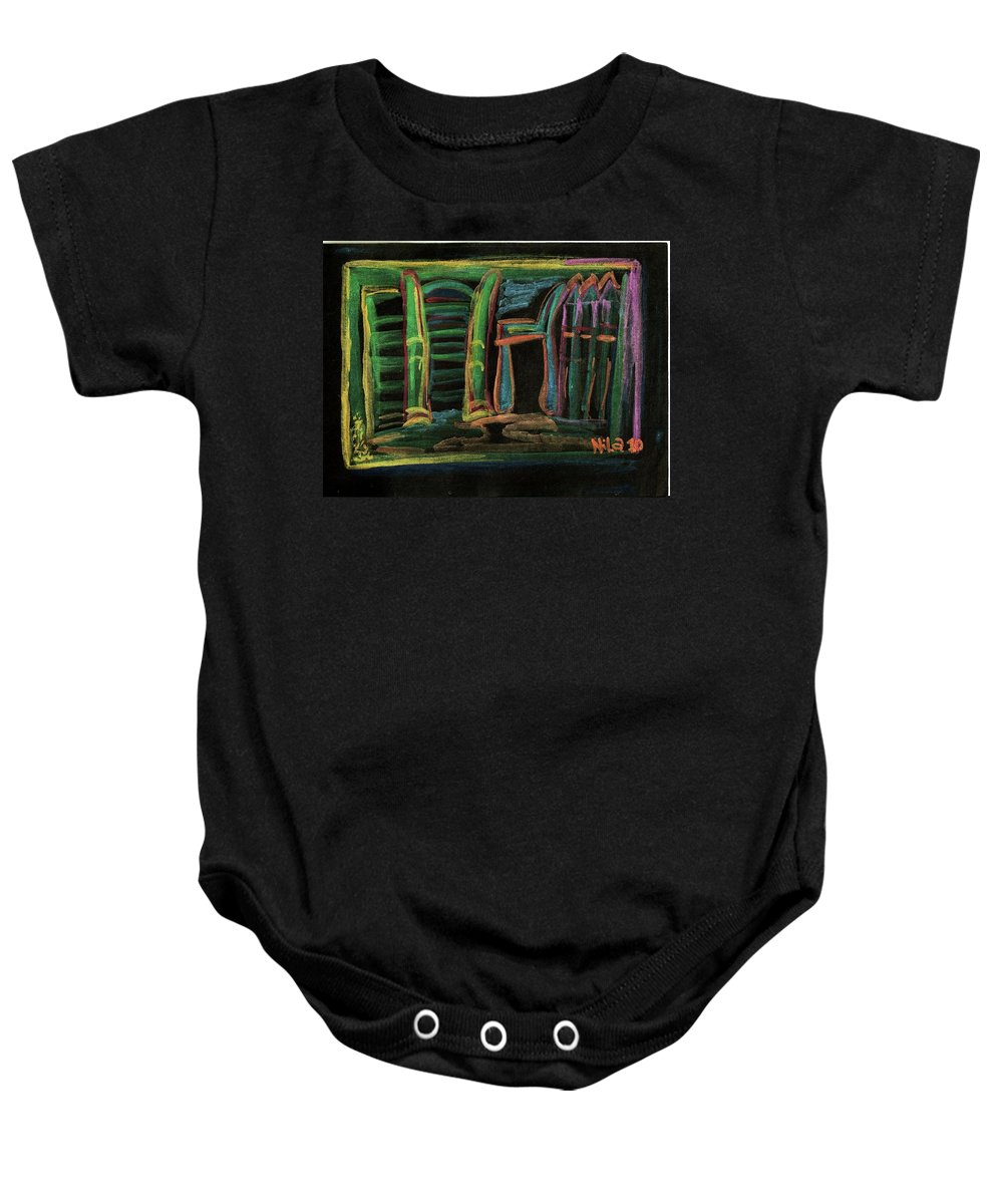 Chair Baby Onesie featuring the painting The Chair by Nila Poduschco