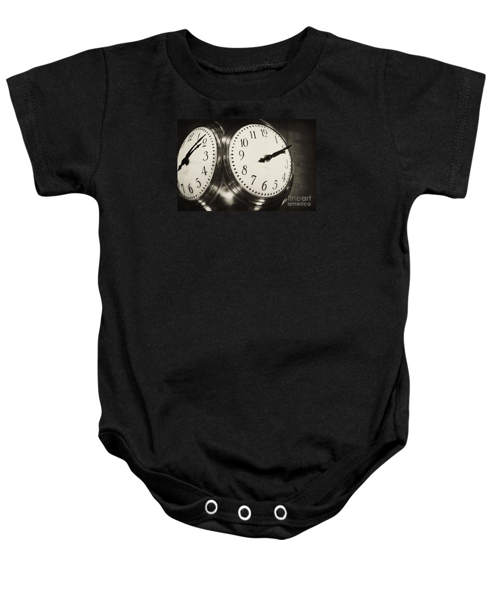 Grand Central Station Baby Onesie featuring the photograph The Clock At Grand Central by Regina Geoghan